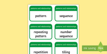 CfE Second Level Numeracy and Mathematics Patterns and Relationships Keyword Flashcards-Scottish - Wall Display, keywords, MNU 2-13a, MNU 2-13b, language of maths, vocabulary, word wall,Scottish