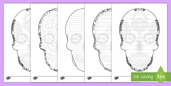 Day of the Dead Writing Frames Pack - Day of the Dead, skull, coloring, art, writing, frames, dia de los muertos