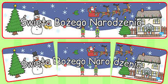 Banner na gazetkę ścienną Boże Narodzenie po polsku - jasełka , Polish