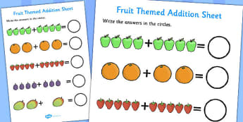 Fruit Themed Addition Sheet - fruit themed, addition sheet, addition, addition worksheet, fruit themed worksheet, fruit themed addition sheet