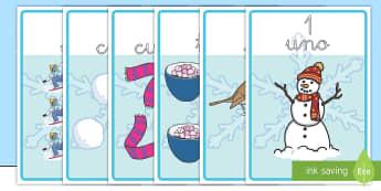 Números de exposición: El invierno - invernal, recta numerica, numerica, contar,Spanish