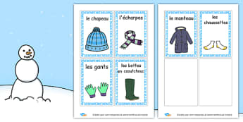 Winter Clothes Labels French - french, winter clothes, labels, winter, clothes