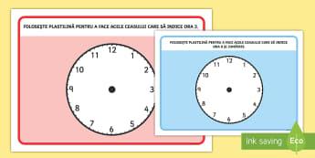 Ora fixă, și un sfert, și jumătate Planșe pentru modelaj cu plastilina - timpul, unități de măsură, activități, română, activitate, citirea ceasului, ,Romanian