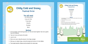 Chilly and Cold Snow Dough Playdough Recipe - eyfs, early years, snow, cold, toddler play, sensory play, winter