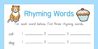 Rhyming Words Worksheet - rhyme, rhyming, worksheet, words