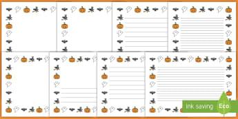 Pecyn Taflenni gyda Borderi Calan Gaeaf - Halloween, page border, calan, gaeaf, tudaeln, borderi,