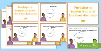 Cartes d'expression orale : Participer et écouter les autres lors d'une discussion - Philosophique, Enseignement Moral Et Civique, Français, Expression Orale, Cycle 2, Cycle 3,French
