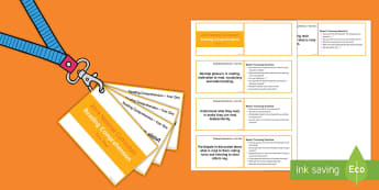 Lanyard Sized Year One Reading Comprehension Objectives Cards - Year 1, year one, reading comprehension, Bloom's Taxonomy, comprehension discussion questions, unde