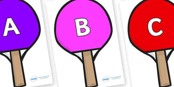 A-Z Alphabet on Table Tennis Bats - A-Z, A4, display, Alphabet frieze, Display letters, Letter posters, A-Z letters, Alphabet flashcards