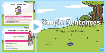 Simple Sentence Writing Prompt Pictures PowerPoint - basic sentences, shared writing, model writing, simple phrases and captions, boys writing, phase 3