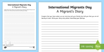 International Migrants Day Diary - literacy, writing, immigrants, empathy, United nations,Scottish
