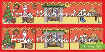 Frohe Weihnachten Banner für die Klassenraumgestaltung-German - Weihnachtlich, Feiertage, feierlich, Dekoration, Deko,,German