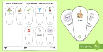 Useful Phrases Communication Fan - non verbal, communication, autism, selective mutism, EAL, SLCN, SLI, communication card