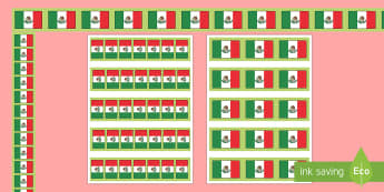Mexican Flag Display Borders - Mexico, Mexican Flag, Bulletin Board, Border, Social Studies, North America