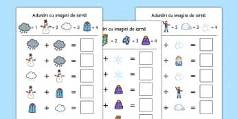 Iarna - Adunări cu imagini de iarnă - iarna, adunări, imagini de iarnă, operații, simboluri, cod, suport vizual, materiale, materiale didactice, română, romana, material, material didactic