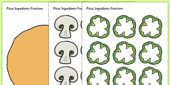 Pizza Ingredients Fractions Cut and Stick Activity - fraction, food, maths, numeracy