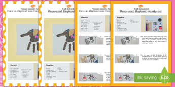Decorated Elephant Handprint Craft Instructions English/French - decorated elephant, handprint, craft, instructions, hand print