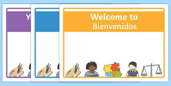 Editable Class Welcome Display Door Sign English/Spanish  - Editable Classroom Welcome Signs, classroom sign, welcome, welcome door signs deitable, welcome sign
