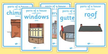Parts of a House Display Posters Polish Translation - house, home, rooms, bathroom, bedroom, vocabulary, new starter, EAL, Poland, Polish, bilingual