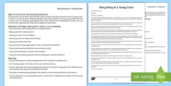 Diary Entry of a Young Carer Male Version Example Text - Young People & Families Case File Recording, referral, chronology, contents page,buddy system, safeg