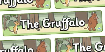 The Gruffalo Display Banner - The Gruffalo, resources, mouse, fox, owl, snake, Gruffalo, fantasy, rhyme, story, story book, story book resources, story sequencing, story resources, banner, display