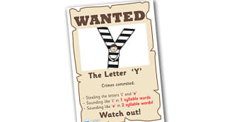 Wanted The Letter Y Poster - wanted poster, wanted, letter poster, letter y poster, y poster, poster, wanted letter y poster, letter y