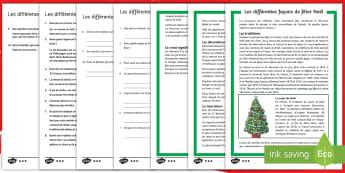 Compréhension écrite différenciée : Les différentes façons de fêter Noël - Saison, célébration, tradition, culture, cycle 2, cycle 3,French