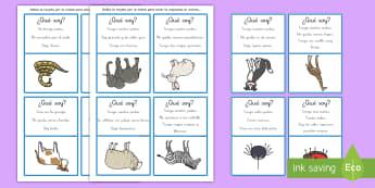 Juego ¿Qué soy? Animales  - qué soy, juego, inferir, inferencias, juego, tarjetas, NEE, autismo, información, comprensión, le