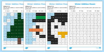 Winter Addition Mosaic Activity Sheets - Winter, maths, add, calculation, sum, addition, Worksheets