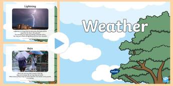 All about Weather PowerPoint - Understanding the World, The World, Weather, Sun, Rain, Wind, Snow, Senses, Familiar World, Photos,