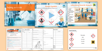 Y7 Introduction into Science Lesson 1 Health and Safety Lesson Pack  - hazard symbol, rules, harmful, irritant, laboratory, chemicals