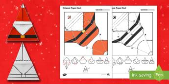Origami Papai Noel - natal, natais, celebraçao, festa, natividade, solsticio de inverno, inverno, pai natal, papai noel,
