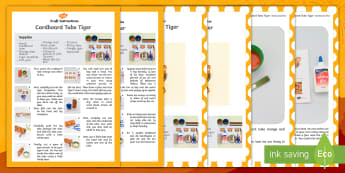 Cardboard Tube Tiger Craft Instructions English/Afrikaans - January, festivals, traditions, nature, animals, make, create, EAL