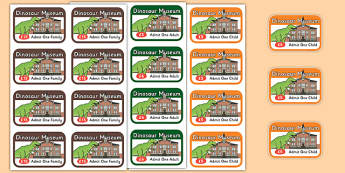 Dinosaur Museum Role Play Tickets - Dinosaur Museum Role Play Pack, museum, tickets,  dinosaurs, fossils, tyrannosaurus, triceratops, pterodactyl, role play, display, poster