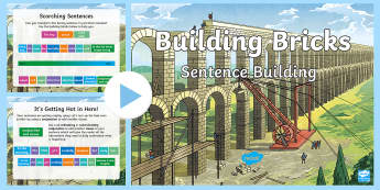 KS2 Building Bricks Sentence Building Activity PowerPoint - uplevelling sentences, SVO, SV, improving writing, sentence structure, creative writing,literacy, sp