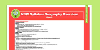 NSW Stage 2 Geography Syllabus Overview - australia, syllabus, nsw