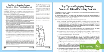 Top Tips on Engaging Teenage Parents to Attend A Parenting Course Guide - Parenting, Families, Courses, Facilitation, Young People, Families, PSHCE, Groups