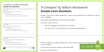 GCSE Poetry Exam Questions Pack to Support Teaching on 'A Complaint' by William Wordsworth  - GCSE Poetry, William Wordsworth, A Complaint, The Romantics, Coleridge, structure and form, language