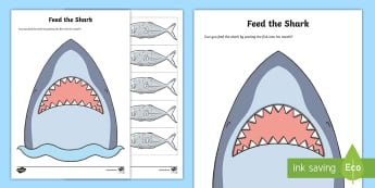 Feed the Shark Worksheet / Activity Sheet - Maths in ECE, counting, maths, shark, fish, number recognition