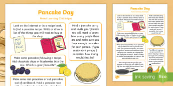 Pancake Day Home Learning Challenges Reception FS2 -  EYFS, Pancake Day,February, 28th, Shrove Tuesday, pancake, food, homework, parents, carers, home li