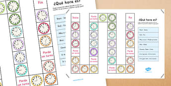 Juego de mesa ¿Qué hora es? - decir la hora, tell the time, what time is it, qu