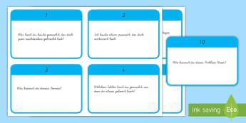 10 Fragen zum Nachdenken anregen : DIN A4 Karteikarten - Positives Denken, nachdenken, Taten und Konsequenzen, Diskussion, positiv,German