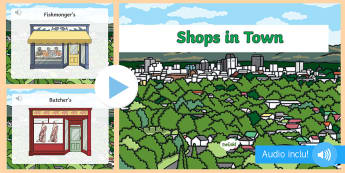PowerPoint : LV anglais - Les magasins - boulangerie, supermarche, lexique, cycle 2, cycle 3,French