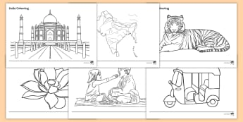 India Colouring Pages  - India, poster, sign, images, colour, display