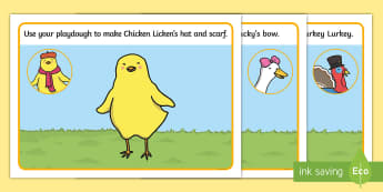 Chicken Licken Playdough Mats - playdoh, stories, story books
