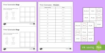 Prime Factorisation Bingo - Number properties, prime factors, prime, index form, factor tree.