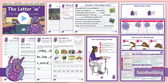 The Journey to Cursive: The Letter 'w' (Zigzag Monster Family Help Card 3) KS2 Activity Pack - Nelson handwriting, penpals, fluent, joined, legible, handwritin, letterjoin, handwriting interventi