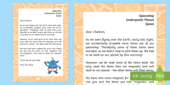 Letter From The Aliens A4 Display Poster - Aliens love underpants, Claire Freedman, Ben Cort, maths, shape space measure, sorting, eyfs, planni