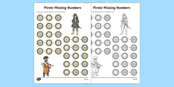 Pirate Themed Missing Numbers Addition to 20 Activity Sheet, worksheet