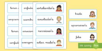Tarjetas de vocabulario: Las emociones y los sentimientos - emociones, tarjetas, vocabulario, sentimientos, sentir, NEE, autoestima, auto estima, todo sobre mí